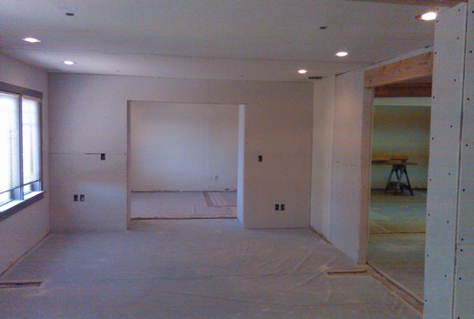 Facing the opening to the conference room.