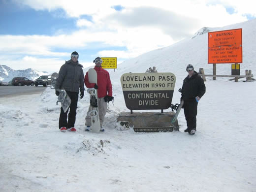 The Soup crew just about to drop into Loveland Pass