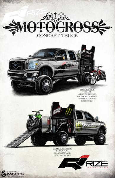 Our concept illustration for the Rize Industries Motocross Concept Truck